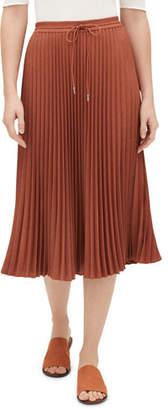 Lafayette 148 New York Gwenda Kensington Cloth Pleated Skirt w/ Drawstring Waist
