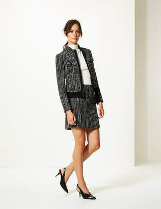 Marks and Spencer Wool Bend Textured A-Line Mini Skirt