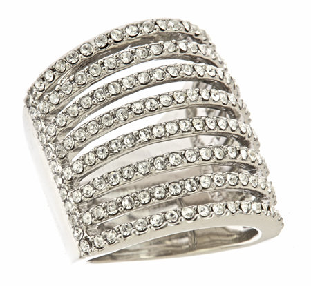 ABS Linear Pave Crystal Ring