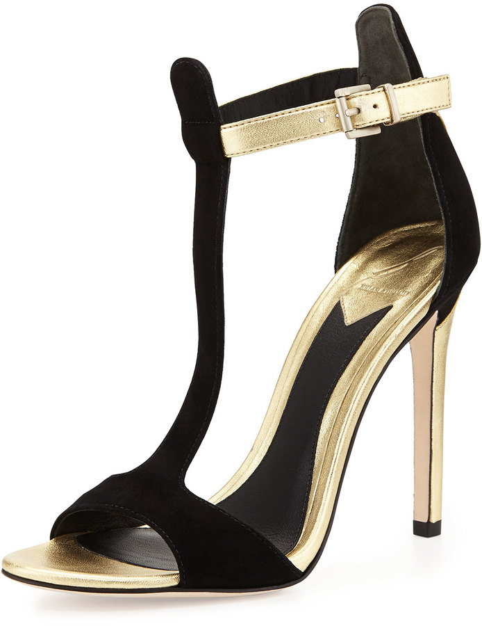Brian Atwood B by Leigha Metallic & Suede T-Strap Sandal, Black/Gold