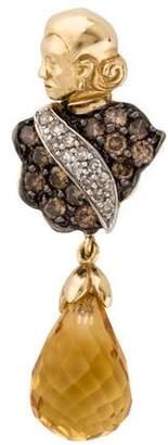 14K Diamond & Citrine Lady Pendant