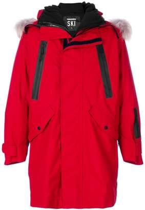 DSQUARED2 logo-print hooded coat