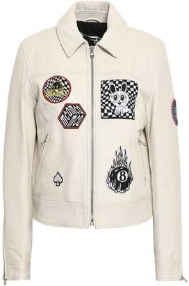 McQ Lace-up Appliqued Textured-leather Jacket