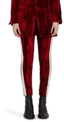 Haider Ackermann Crushed Velvet & Leather Skinny Trousers