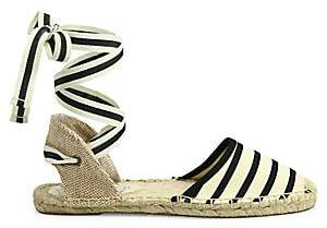 Soludos Women's Striped Ankle-Wrap Espadrilles