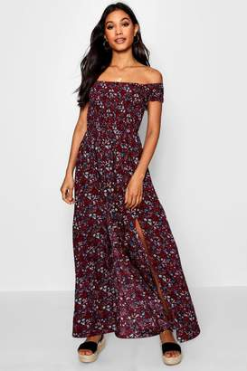 boohoo Noelle Off The Shoulder Shirred Ditsy Maxi Dress