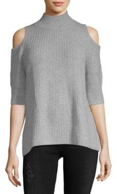 Turtleneck Cold-Shoulder Sweater