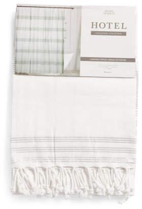 Woven Metallic Stripe Shower Curtain