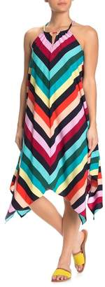 Spense Striped Halter Handkerchief Midi Dress
