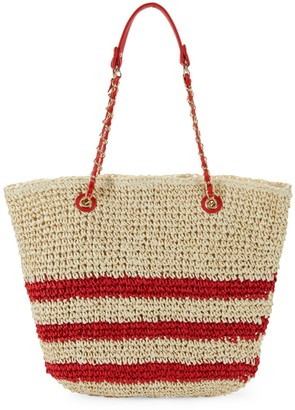 Saks Fifth Avenue Marabelle Paper Straw Stripe Tote with Chain Handles