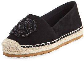 Karl Lagerfeld Paris Abby Suede Espadrille Slip-On Flat with Flower