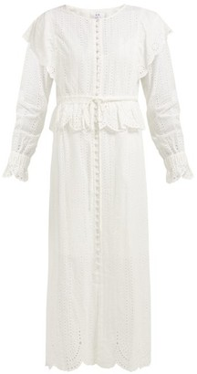 Leila Sir Broderie Anglaise Cotton Dress - Womens - Ivory