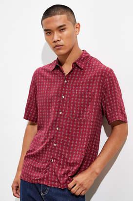 Urban Outfitters Geo Foulard Short Sleeve Button-Down Burgundy Shirt