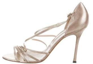 Brian Atwood Metallic Leather Sandals