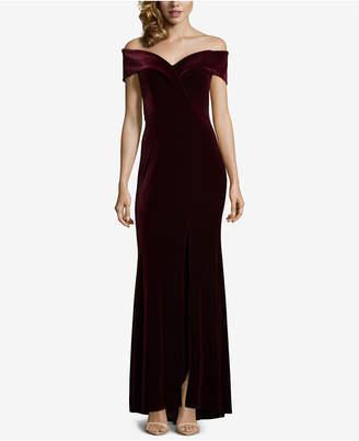 Xscape Evenings Petite Velvet Off-The-Shoulder Gown