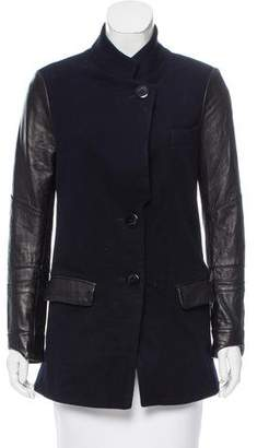 Veda Wool Leather-Trimmed Coat