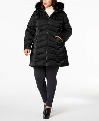 T Tahari Plus Size Faux-Fur-Trim Puffer Coat
