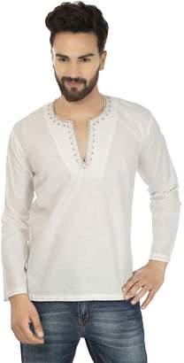 Off-White Maple Clothing Cotton Mens Short Kurta Shirt Embroidered Dress India Fashion Clothing (Blue, L)