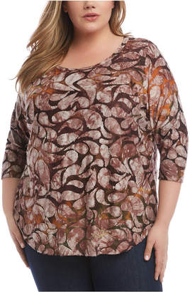 Karen Kane Plus Size Printed Tie-Dyed Top