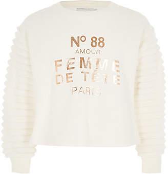 River Island Girls cream faux fur sleeve sweatshirt