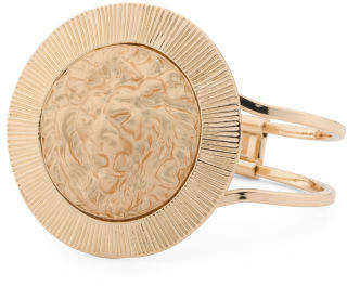 Lion Head Medallion Cuff Bracelet