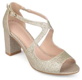 Co Brinley Women's Glitter Intersecting Straps Block Heel Open Toe Heels