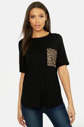 boohoo Tall Leopard Print Pocket T-shirt