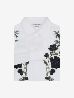 Alexander McQueen Embroidered Rose Poplin Shirt