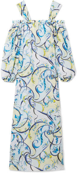 Emilio Pucci - Nastri Cold-shoulder Printed Cotton And Silk-blend Maxi Dress - Sky blue