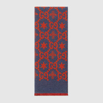 Gucci Bees and stars GG jacquard scarf