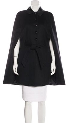 Belstaff Leather-Trimmed Virgin Wool Cape w/ Tags $700 thestylecure.com