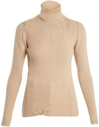HILLIER BARTLEY Darning-detail roll-neck cashmere sweater