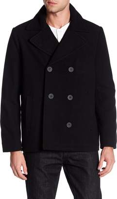 Kenneth Cole Reaction Double Breasted Wool Blend Peacoat
