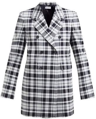Balenciaga Checked Double Breasted Stretch Twill Blazer - Womens - Black White
