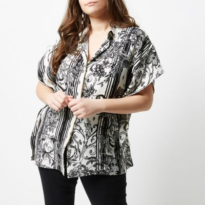 River Island River Island Womens Plus black mono floral print oversized shirt