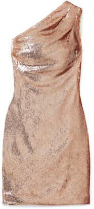 Haney - Valentina One-shoulder Sequined Crepe Mini Dress - Gold