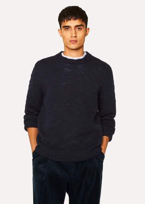 Paul Smith Men's Navy Red Ear Slub-Knit Sweater