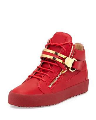 Giuseppe Zanotti Double-Strap Leather Mid-Top Sneaker, Red $895 thestylecure.com