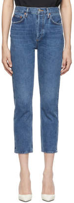A Gold E Agolde Blue Riley Hi Rise Straight Crop Jeans