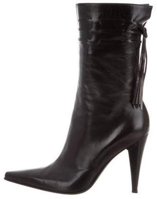 Sergio Rossi Leather Pointed-Toe Ankle Boots Black Leather Pointed-Toe Ankle Boots