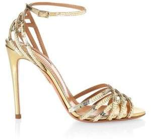 Aquazzura Sequin Trim Studio Stiletto Sandals