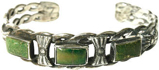 One Kings Lane Vintage Green Turquoise & Silver Cuff - N.P.Trent Antiques