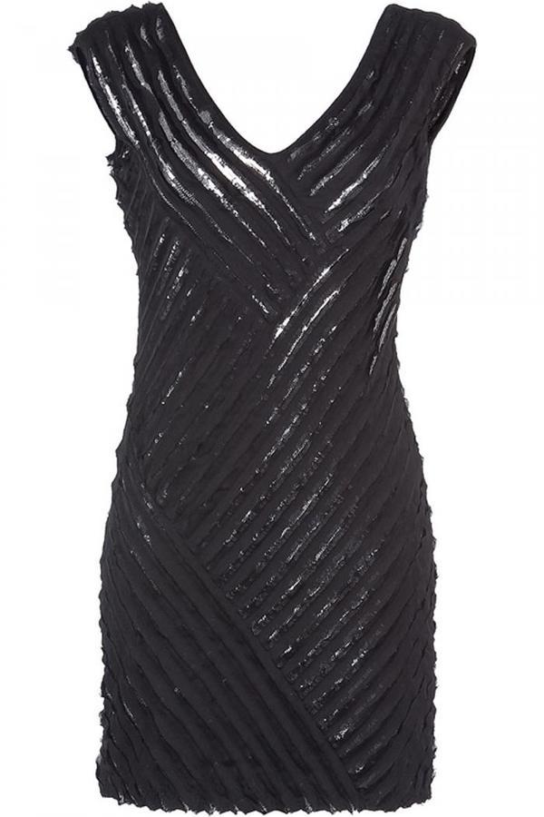 Roberto Cavalli Black/Silver Sequined Seamless Dress