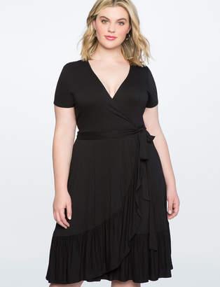 ELOQUII Ruffle Hem Wrap Dress