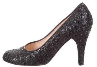 Marc Jacobs Glitter Round-Toe Pumps Black Glitter Round-Toe Pumps