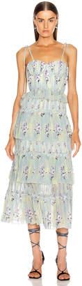 Self-Portrait Self Portrait Tiered Floral Lace Dress in Mint | FWRD