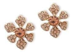 Jenny Packham Pave Crystal Flower Stud Earrings