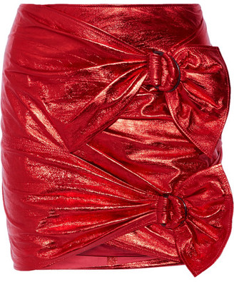 Isabel Marant - Doll Metallic Leather Mini Skirt - Red $1,900 thestylecure.com