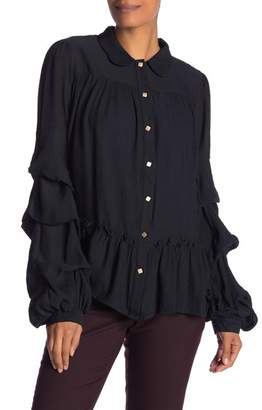 Lumie Solid Button Front Ruffle Sleeve Blouse