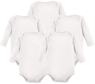 Baby Vision Hudson Baby Long Sleeve Bodysuits, 5-Pack, White, 0-24 Months